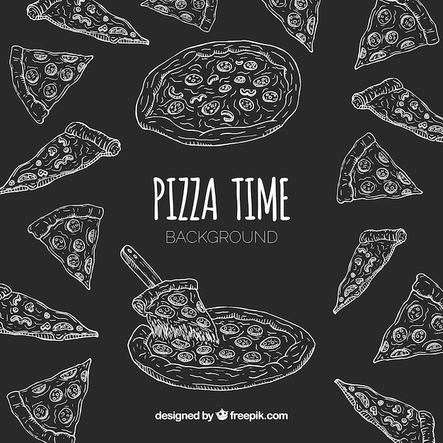 Hand drawn pizza restaurant composition Free Vector
