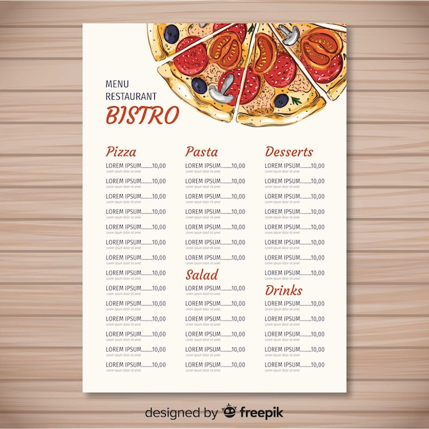 hand drawn pizza restaurant menu template vector free download