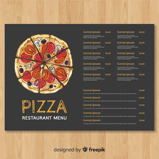 hand drawn pizza restaurant menu template free vector