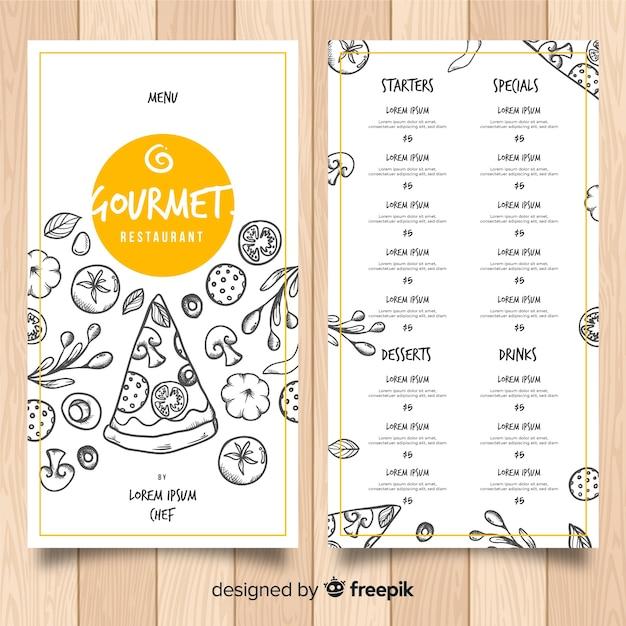 Hand drawn pizza restaurant menu template Free Vector
