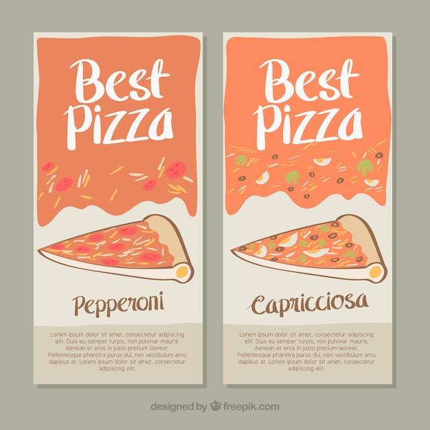 Ручной обращается баннеры пиццерия Бесплатные векторы