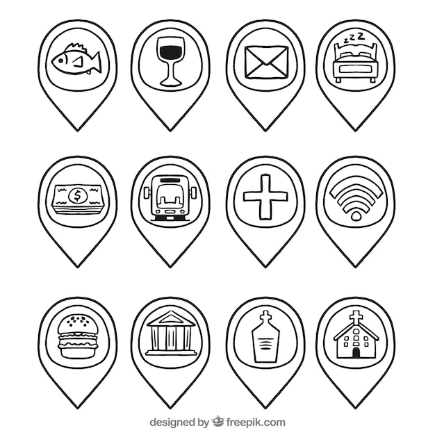 Hand drawn placeholder collection Free Vector