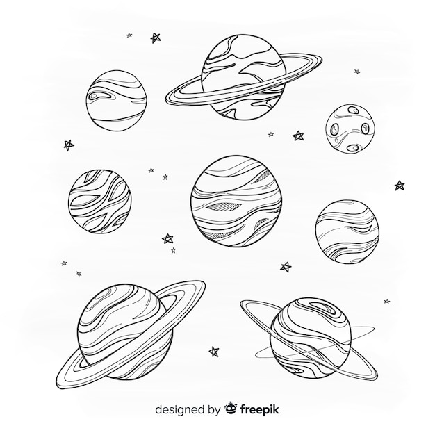 Hand drawn planet collection in doodle style Free Vector
