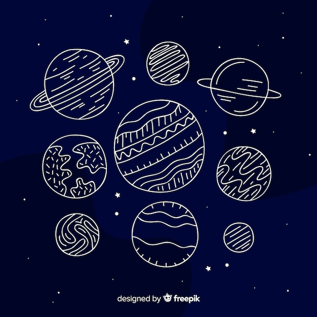 Hand drawn planet collection Free Vector