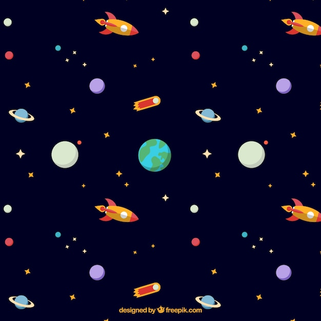 Hand drawn planets and Earth pattern Free Vector