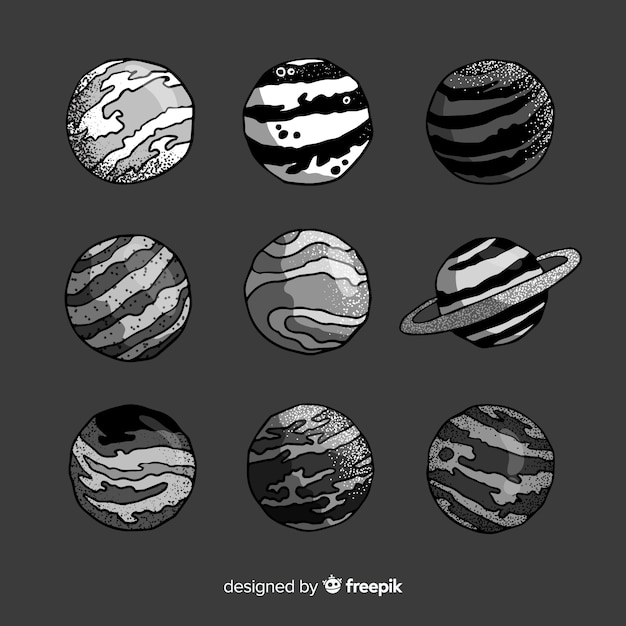 Hand drawn planets collection Free Vector