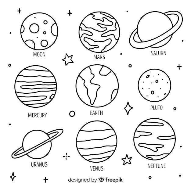 Hand drawn planets in doodle style Free Vector
