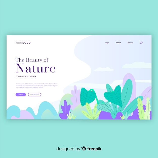 Hand drawn plants landing page Free Vector