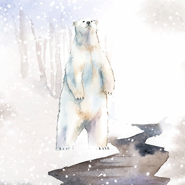 Hand-drawn polar bear in the snow watercolor style vector Free Vector