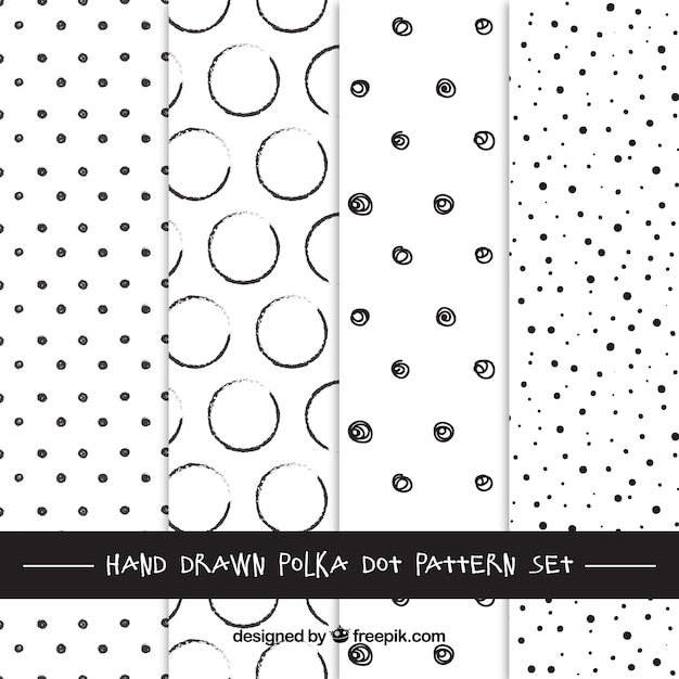 Hand drawn polka dots patterns Free Vector