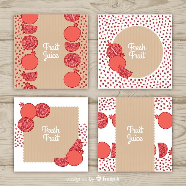 Set di carte di melograno disegnato a mano Vettore gratuito