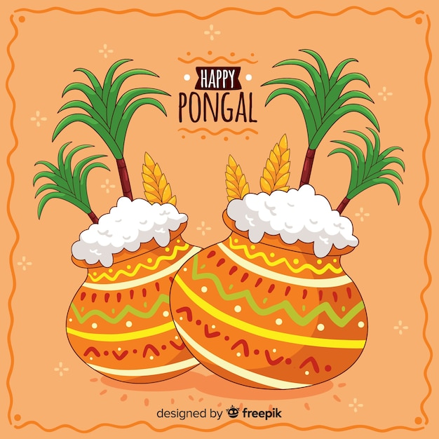 Hand drawn pongal background Free Vector