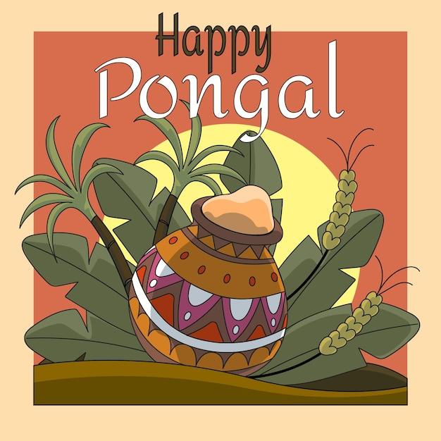 Hand drawn pongal event illustration Free Vector