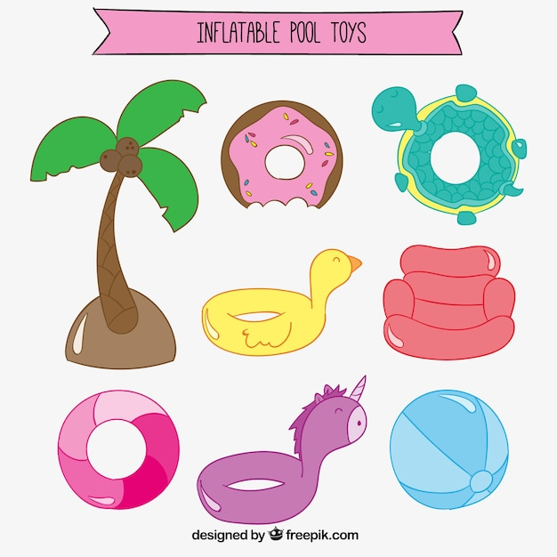hand drawn pool floats set vector free download