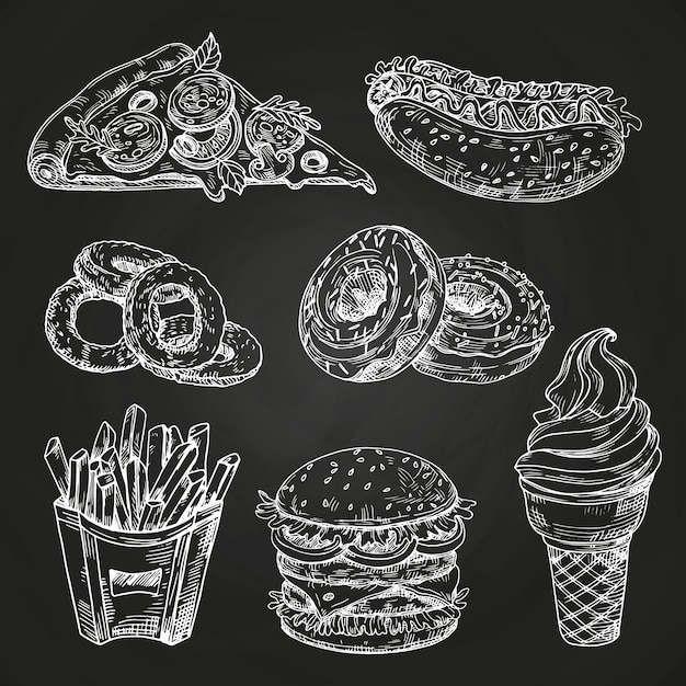 Hand drawn popular fast food on blackboard style Premium Vector