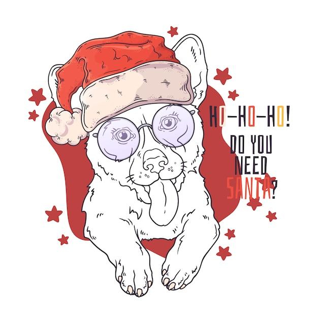 Hand drawn portrait of corgi dog in christmas accessories vector. Premium Vector