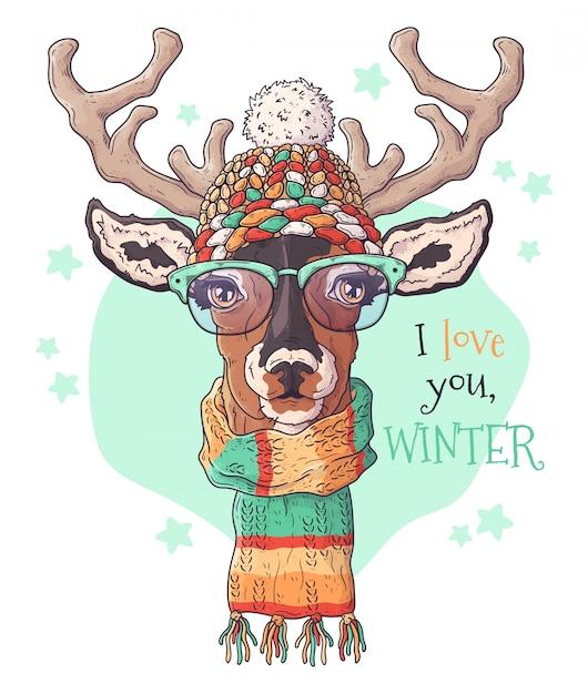 Hand drawn portrait of deer in christmas accessories. Premium Vector