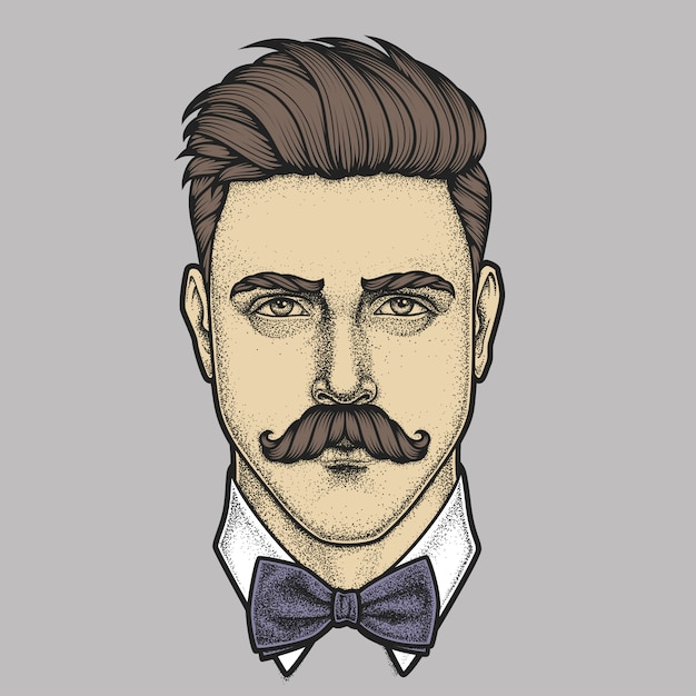 Hand drawn portrait of moustached man full face. illustration. Premium Vector