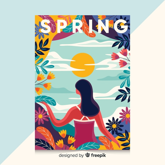 Hand drawn poster with spring illustration Free Vector