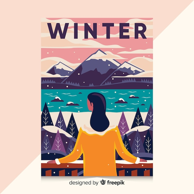 Hand drawn poster with winter illustration Free Vector