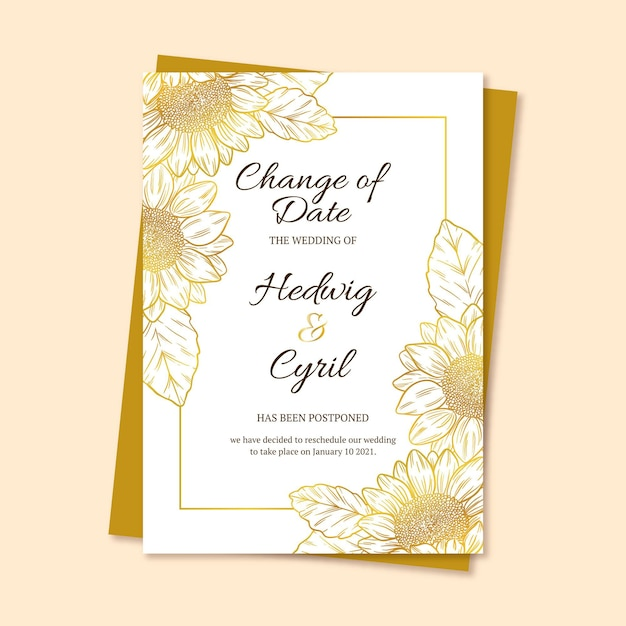 Ручной обращается отложенный шаблон свадебной открытки Бесплатные векторы