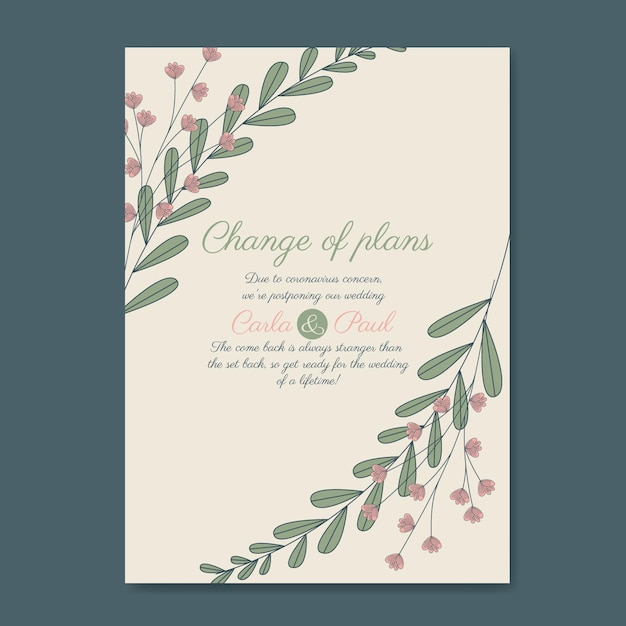 Hand drawn postponed wedding card template Free Vector