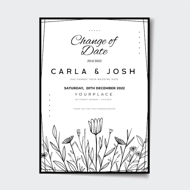 Hand drawn postponed wedding card Free Vector
