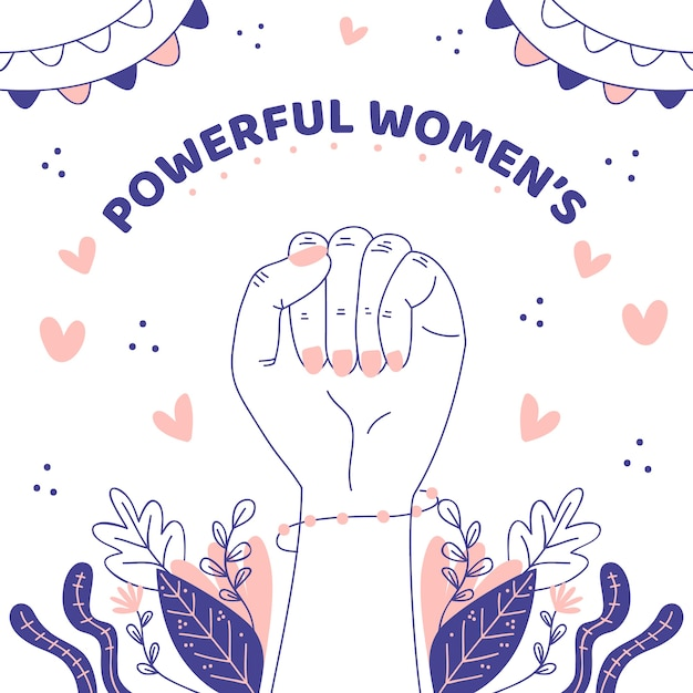 Hand drawn powerful women Premium Vector