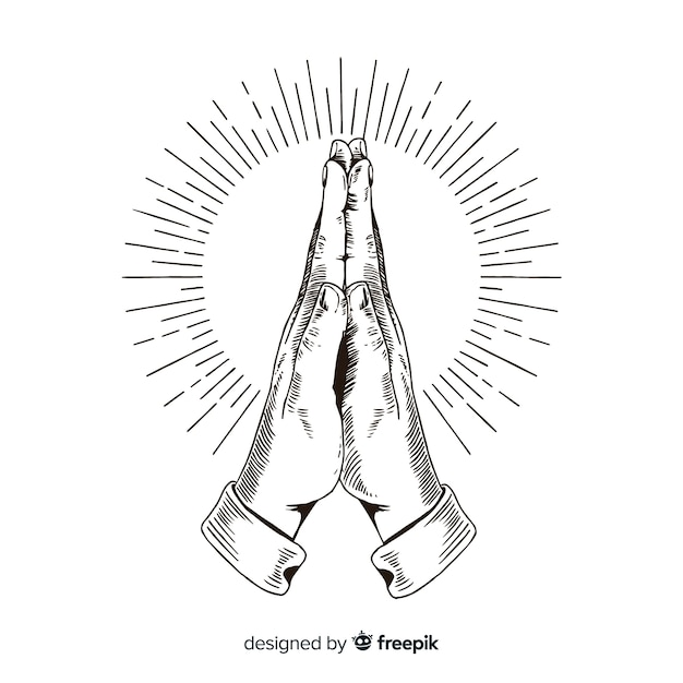 Hand drawn praying hands background Free Vector