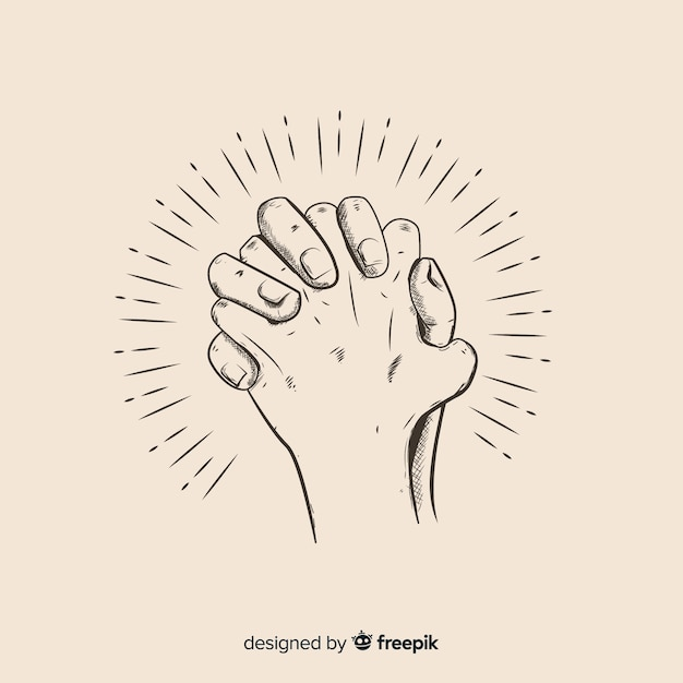Hand drawn praying hands illustration Free Vector