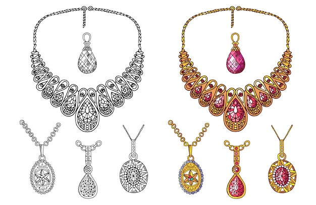 Hand drawn precious pendants and necklace  isolated on white background Premium Vector