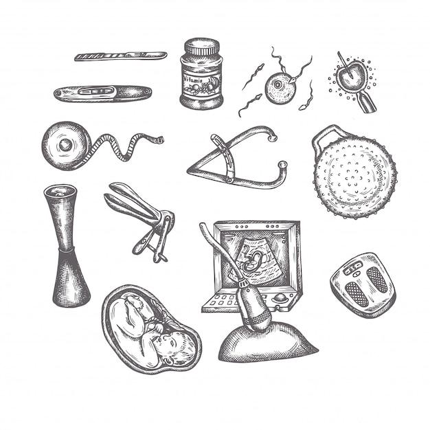 Hand drawn pregnancy elements sketches set maternity vector icons Premium Vector