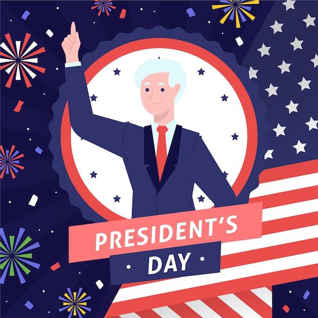 手描きの大統領の日の候補者と花火 無料ベクター