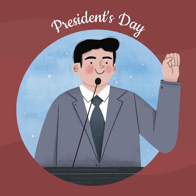 手を振っている手描きの大統領の日の候補者 無料ベクター