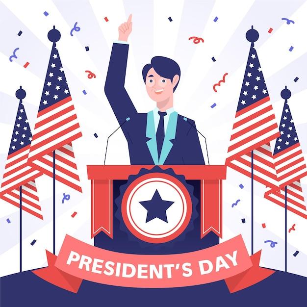 Candidato del giorno del presidente disegnato a mano Vettore gratuito