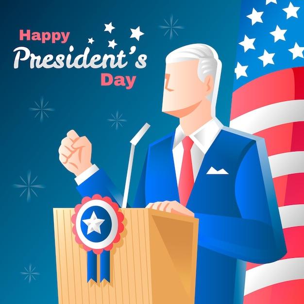 Concetto di giorno del presidente disegnato a mano Vettore gratuito