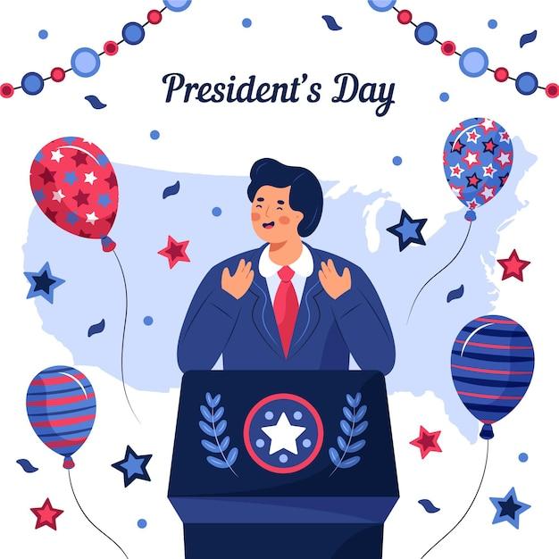 手描きの大統領の日のイラスト 無料ベクター