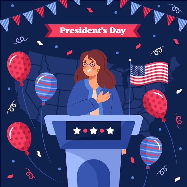 Illustrazione disegnata a mano del giorno del presidente Vettore gratuito