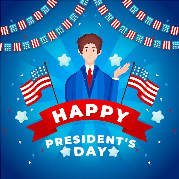 Giorno del presidente disegnato a mano Vettore gratuito