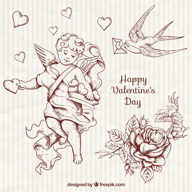 Hand drawn pretty cupid and valentine elements Free Vector