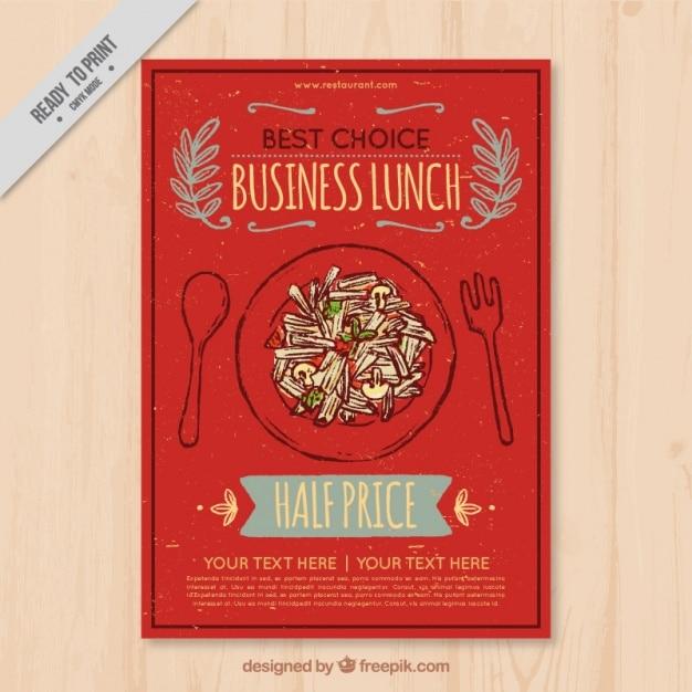 Hand drawn pretty restaurant brochure in retro style