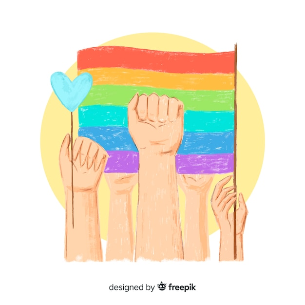 Hand drawn pride day background Free Vector