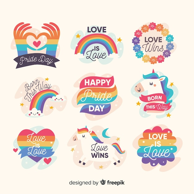 Hand drawn pride day label collection Free Vector