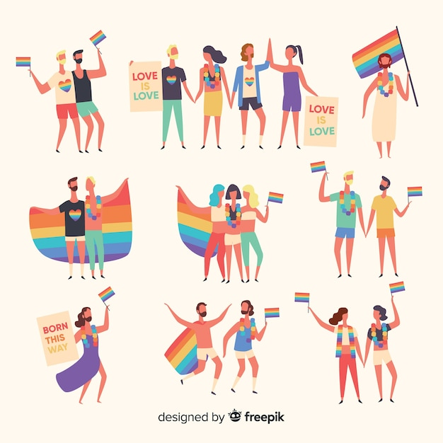Hand drawn pride day people collection Free Vector