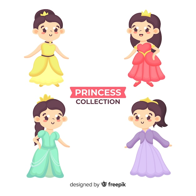 Hand drawn princess collection Free Vector
