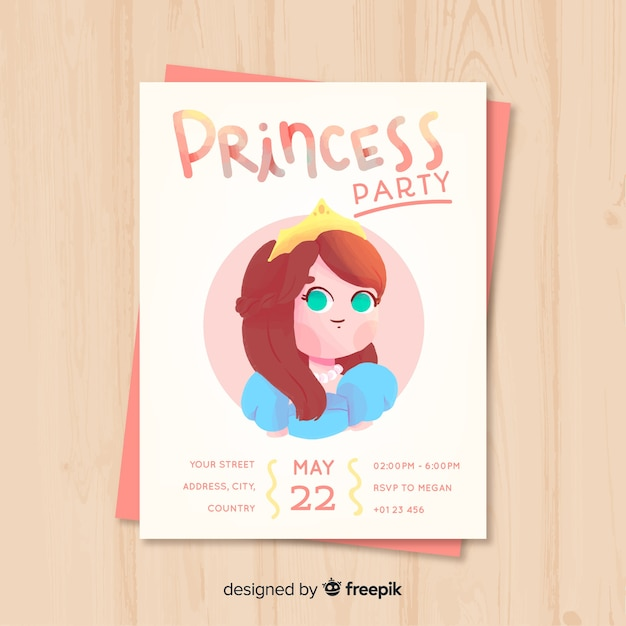 Hand drawn princess party invitation template Free Vector