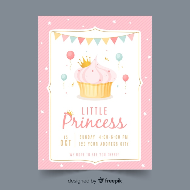 Hand drawn princess party invitation template Free Vector