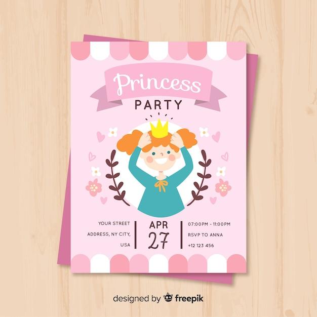 Hand drawn princess party invitation Free Vector