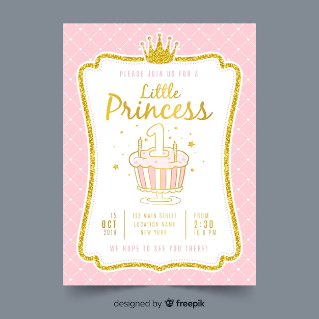 Hand drawn princess party invitation Free Vector