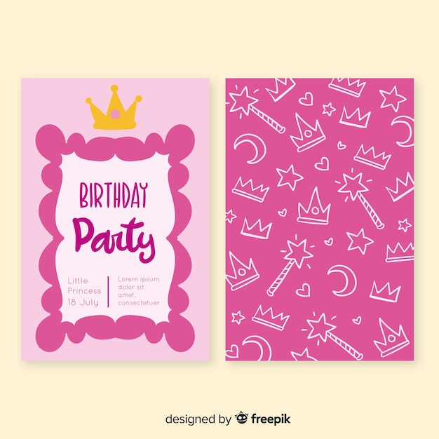 Hand drawn princess style birthday card Free Vector